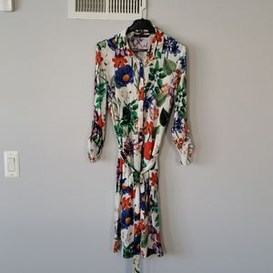 Zara Botanical Print Off White Belted Dress S